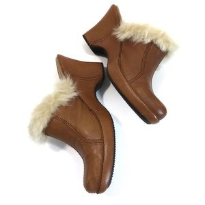 Enzo Angiolini Ernest Leather Fur Lined Clogs